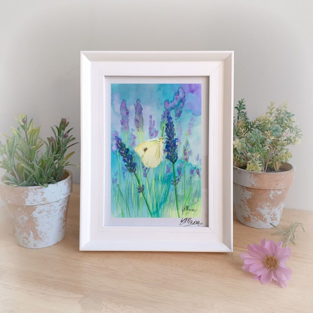 Butterfly and Lavender Framed Gift Print