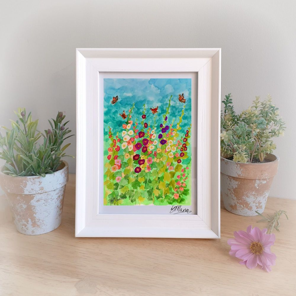 Hollyhocks Framed Gift Print