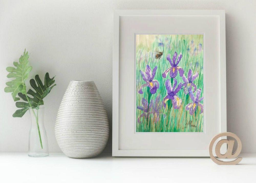 Irises and Bee Print