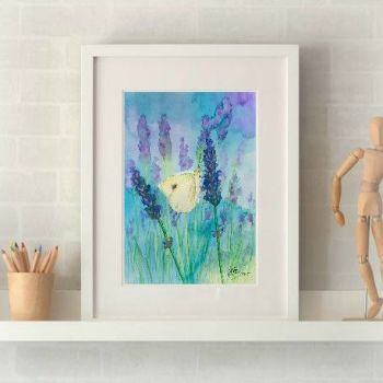 Small White Butterfly on Lavender Print