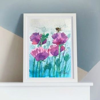Oriental Poppies and Bee Print