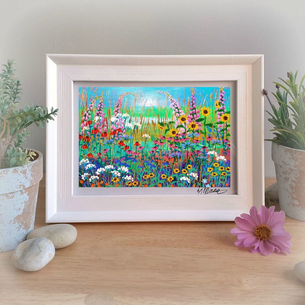Sunflowers and Foxgloves Framed Gift Print