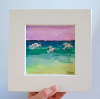 Three Seagulls Framed Original Watercolour