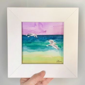 Two Seagulls Framed Original Watercolour
