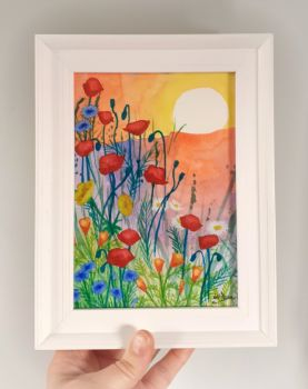 Poppies in the Sun Framed Original Watercolour
