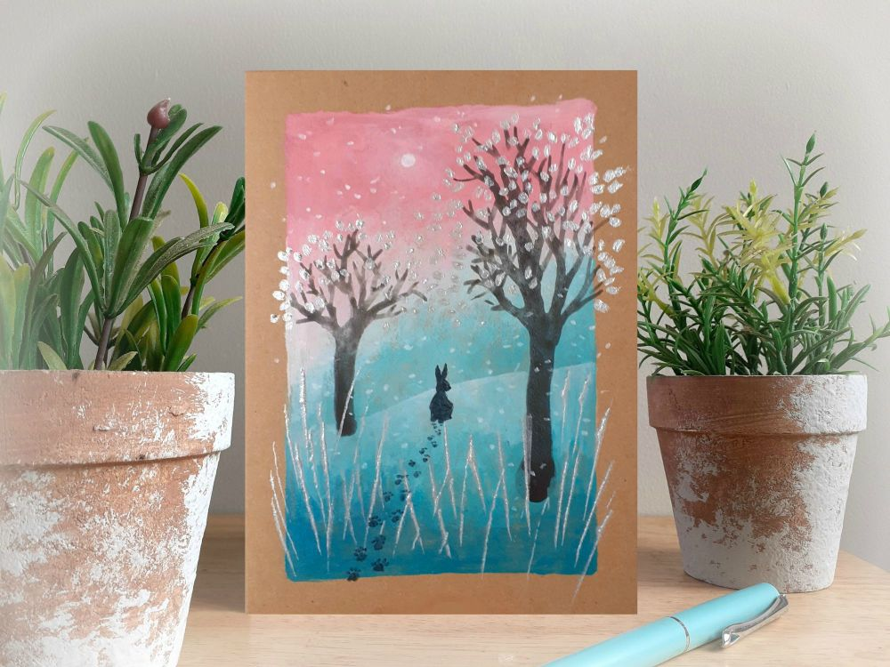 Rabbit in the Snow - Hand Painted Christmas Card