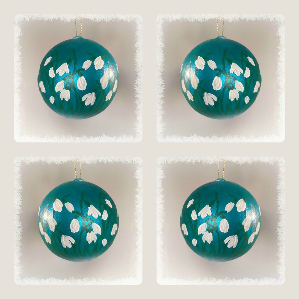 Hand painted Snowdrop Baubles -special offer - 4 for £20