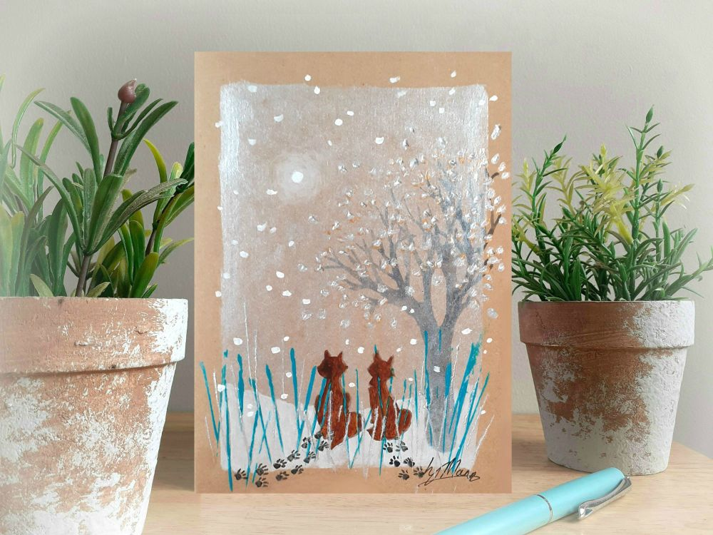 Foxes in the Snow - Hand Painted Christmas Card