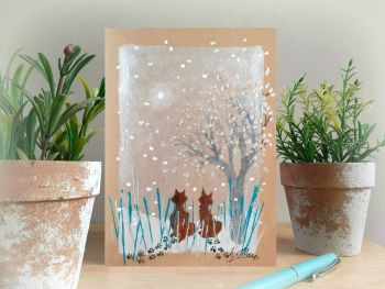 Foxes in the Snow - Hand Painted Card