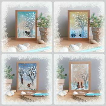 Special Offer - Four Forest Animals in the Snow Cards for £8
