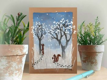 Squirrels in the Snow - Hand Painted Card