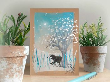 Badger in the Snow - Hand Painted Card