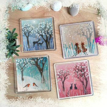 Animals in the Snow Set of coasters