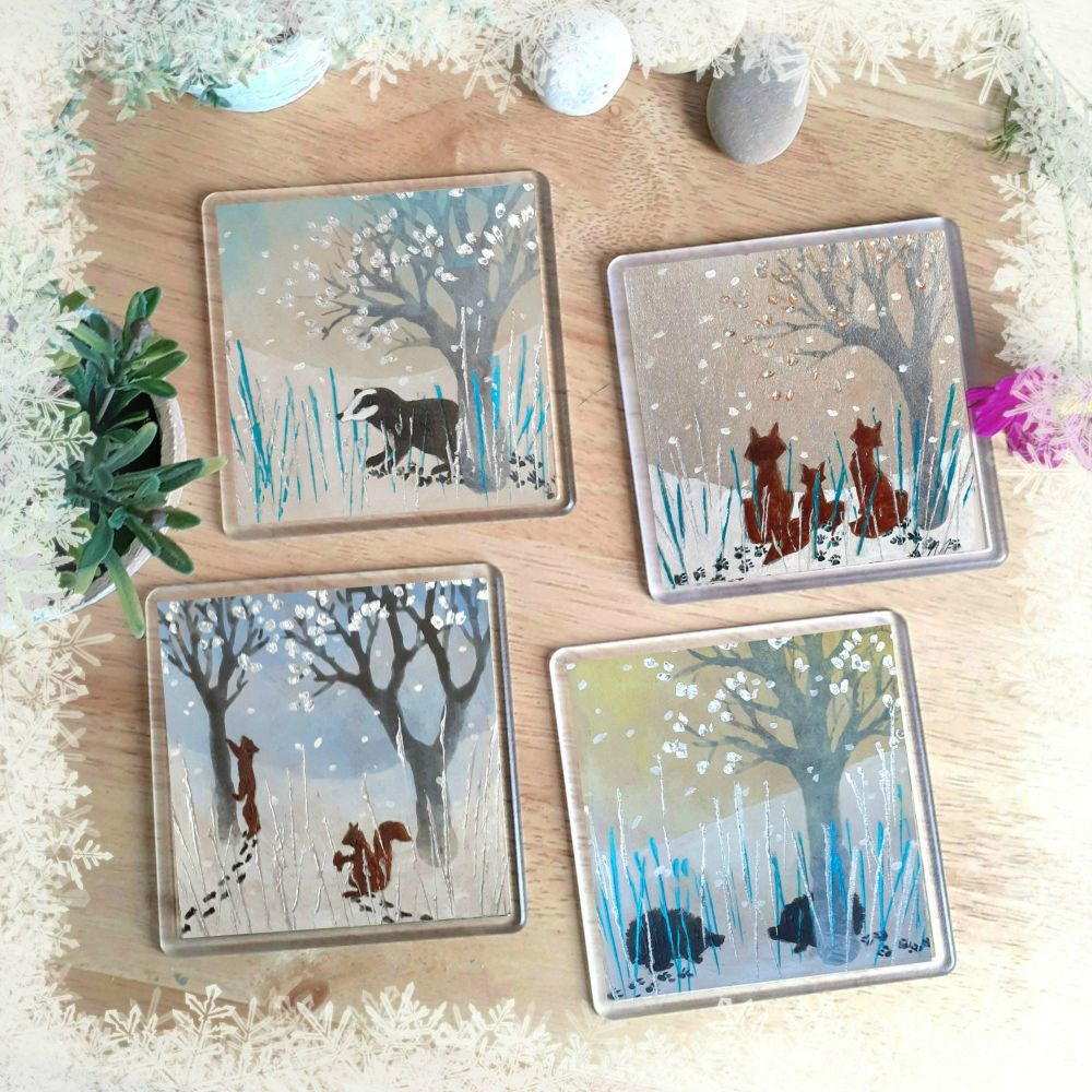 Animals in the Snow Set of coasters 2