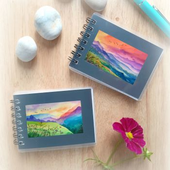 Two Mini Notebooks - colourful mountains