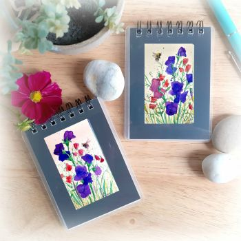 Two Mini Notebooks - Sweet Peas and Bees