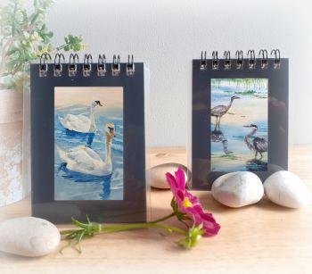 Two Mini Notebooks - Swans and Herons