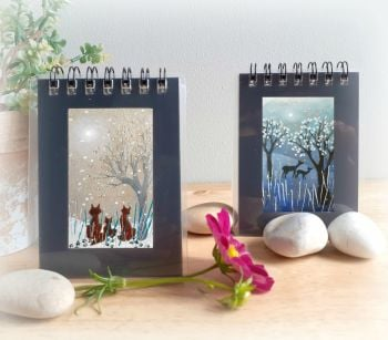 Two Mini Notebooks - Fox Family and Deer