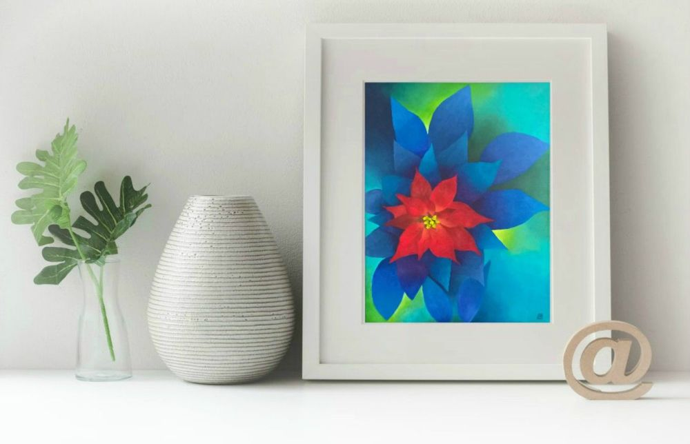 Poinsettia Print to fit A4 frame