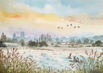 Abbey in the Snow Original Watercolour
