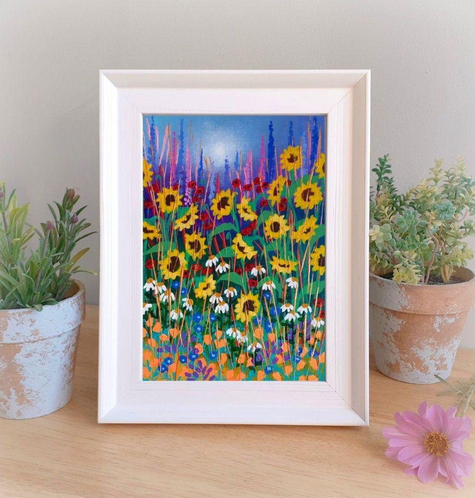 Framed Garden with Sunflowers