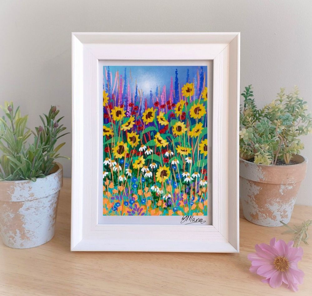 Sunflowers and Daisies Framed Gift Print