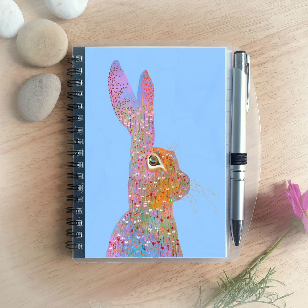 Flower Hare Notebook and Silver Pen