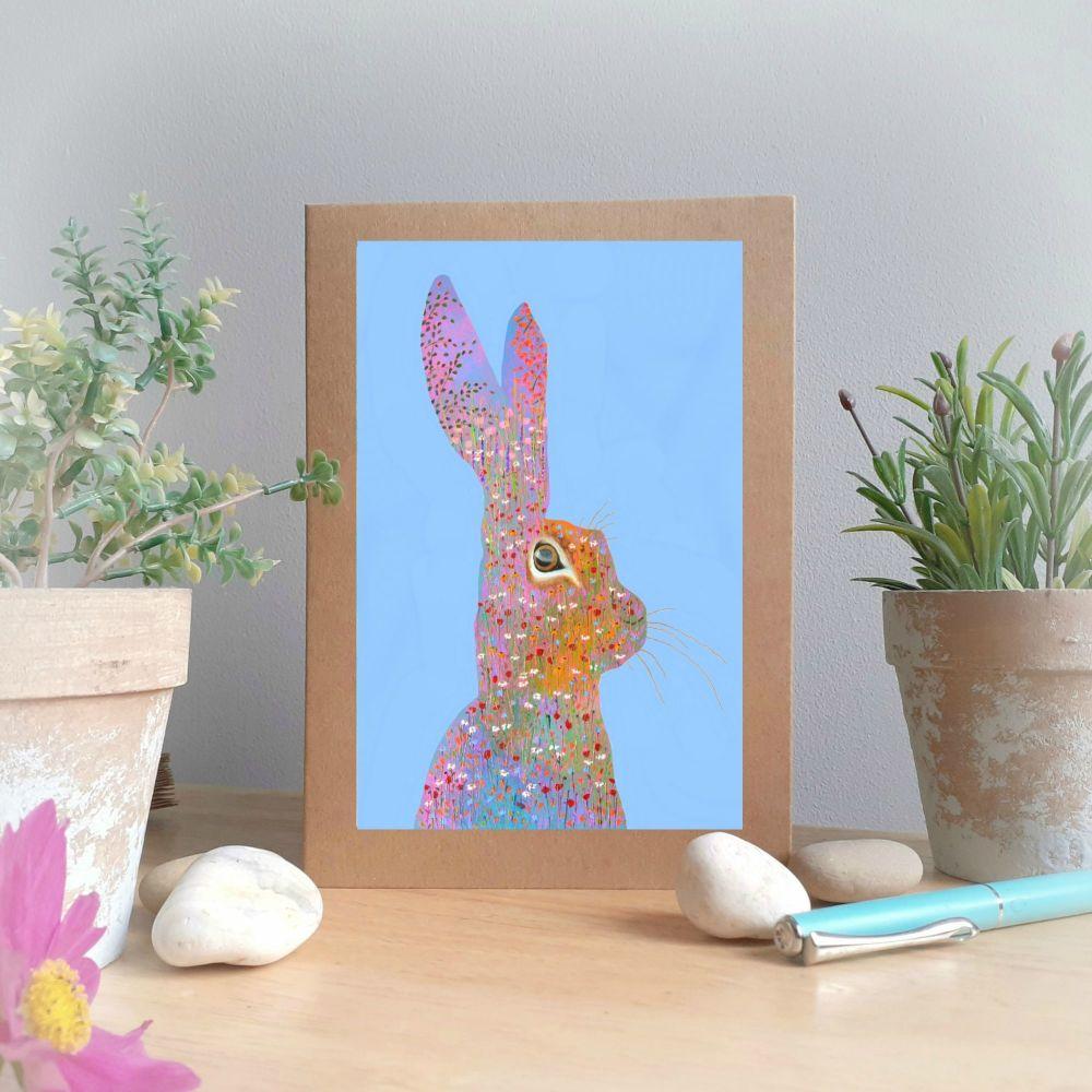 Flower Hare Greetings Card