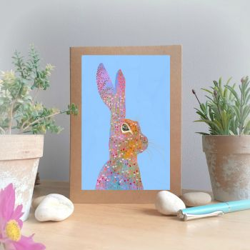 Flower Hare Greetings Card