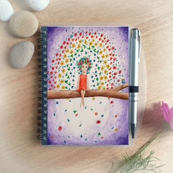 Flower Rainbow Notebook and Silver Pen