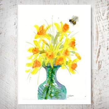 Daffodils in a Glass Vase Print