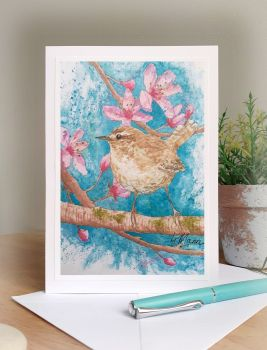 Greetings Card - Wren and Blossom