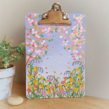 Hand Painted Spring Floral Clipboard with Gold details