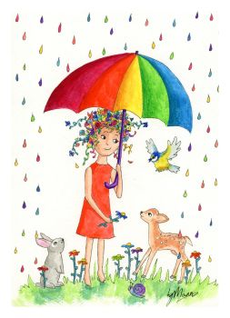 Rainbow Rain Signed Giclee Print - to fit A4 frame