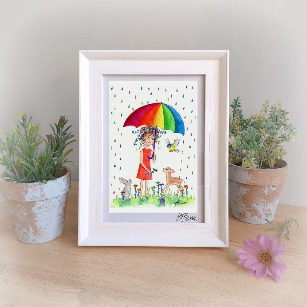 Rainbow Rain Framed Gift Print