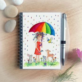 Rainbow Rain Notebook and Silver Pen