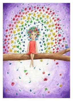 Flower Rainbow Signed Giclee Print - to fit A4 frame