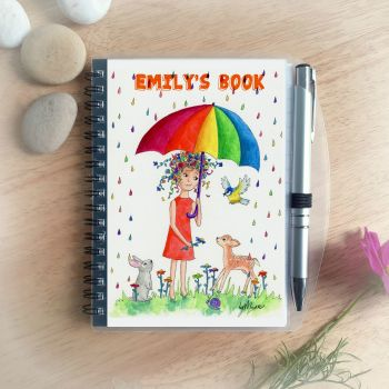 Rainbow Rain Notebook - Personalised
