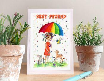 Rainbow Rain Personalised Card