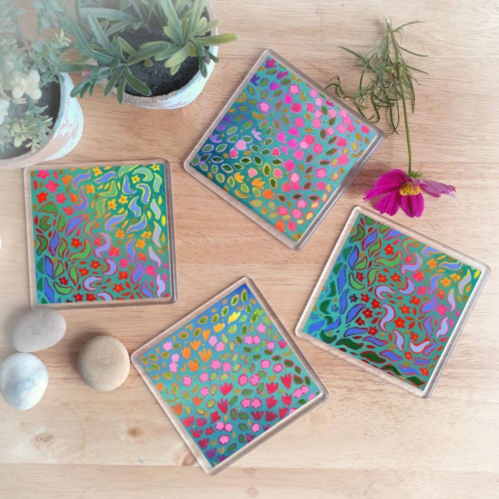 Bright Florals Coaster Set