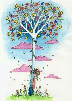 Flower Tree Signed Giclee Print - to fit A4 frame