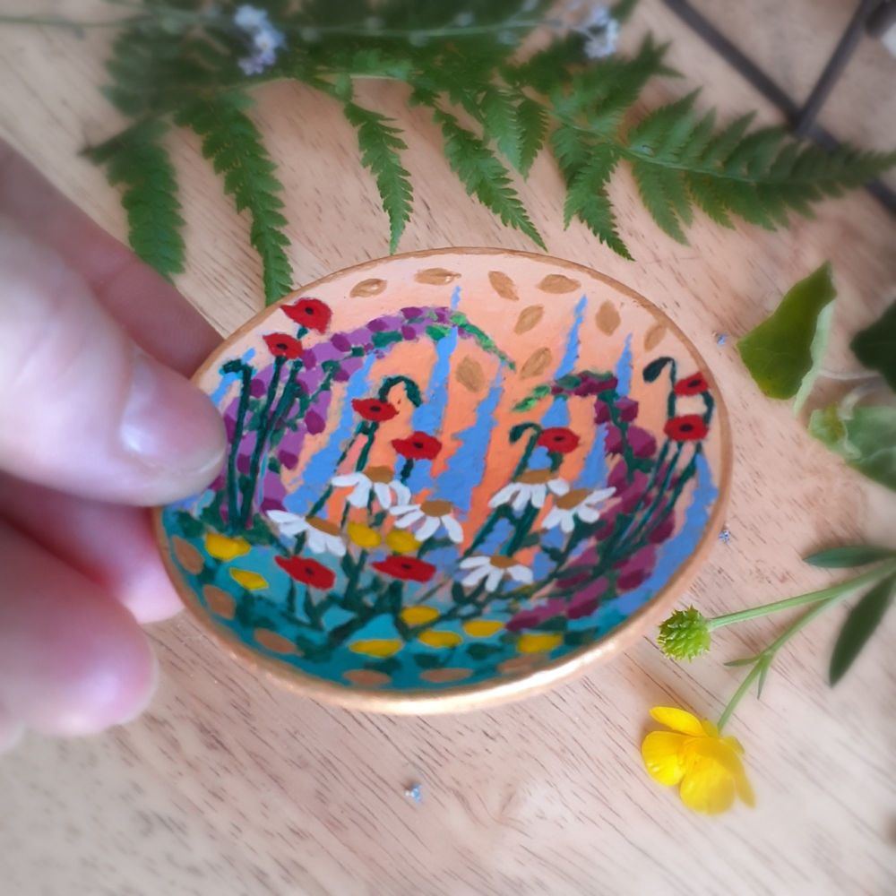 Hand Turned Wood, Hand Painted Floral Ring Dish