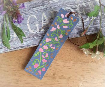 Hand Painted Sweet Peas Bookmark in Blue