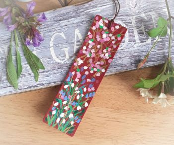 Hand Painted Blossom Bookmark in Red