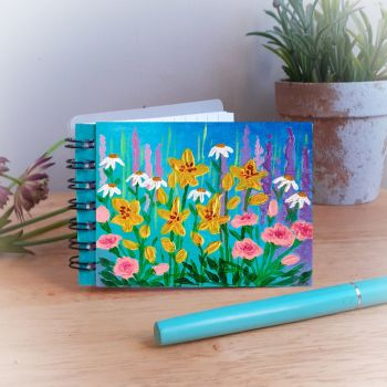 Hand Painted Pocket Notebook with Yellow Lilies