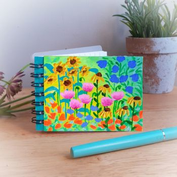 Hand Painted Pocket Notebook with sunflowers