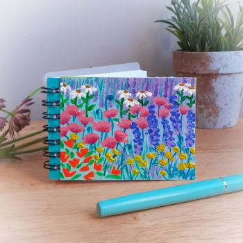 Hand Painted Pocket Notebook with  Pink Poppies