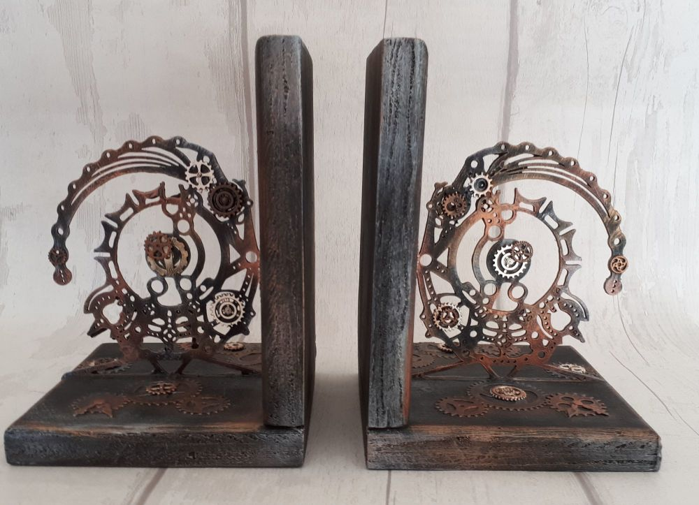 Handmade Steampunk Wooden Bookends Metal Cogs Gears