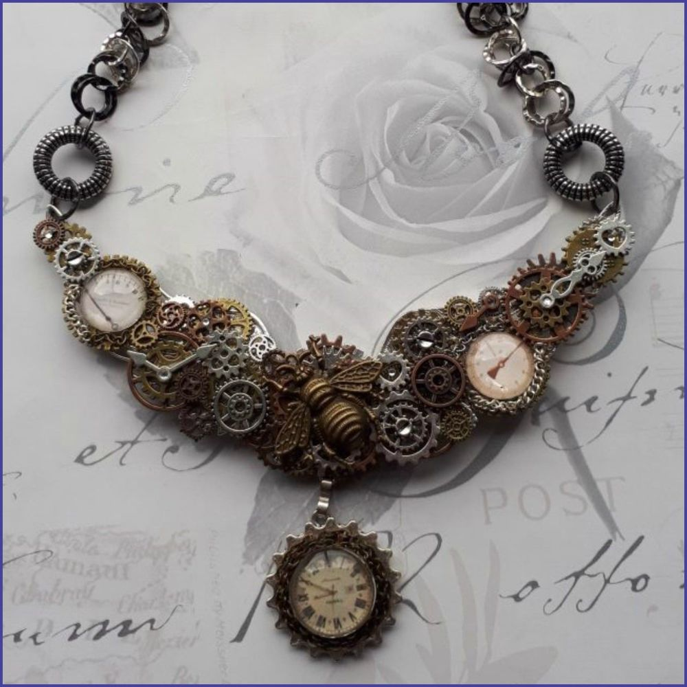 Handmade Steampunk Inspired Bib Style Statement Necklace