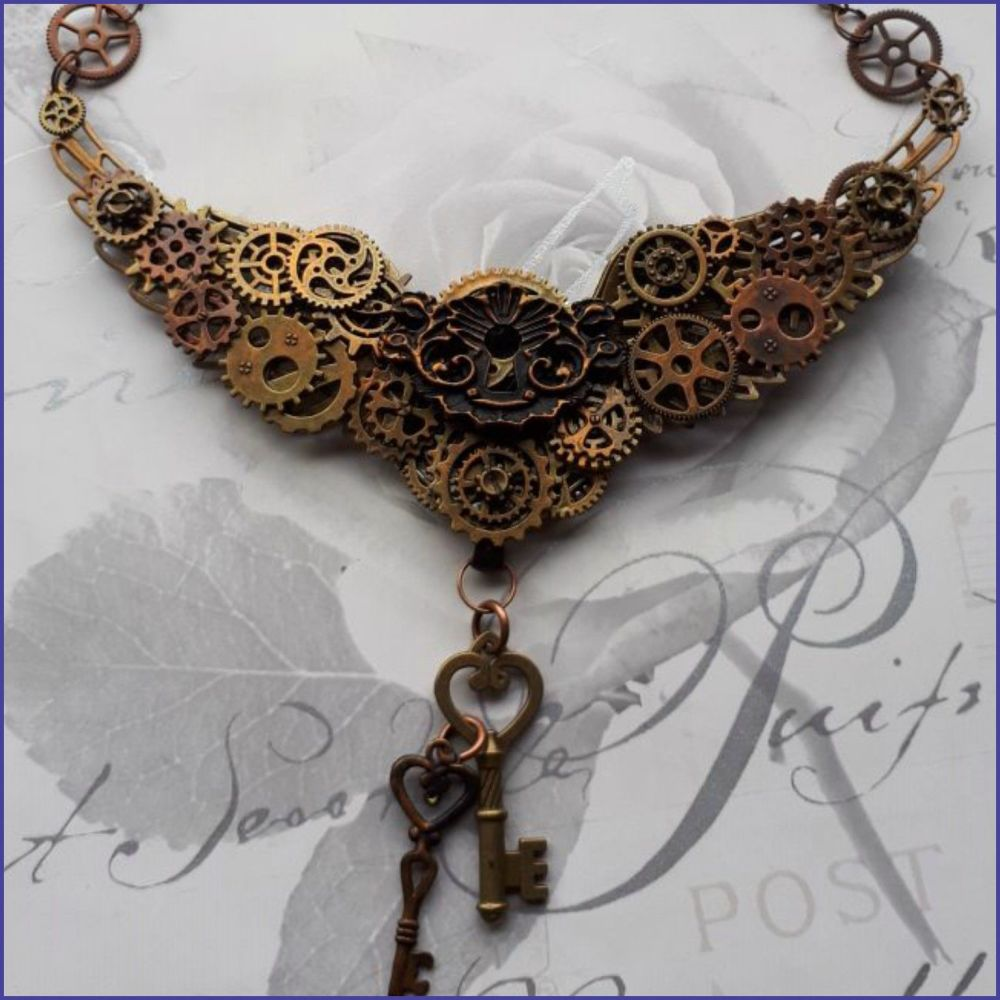 Steampunk Inspired Key Lock Cogs Gears Necklace Pendant